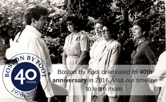 Boston By Foot celebrated its 40th Anniversary in 2016. Visit our timeline to learn more.