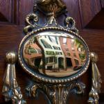Beacon Hill Townhouses reflected by door knocker