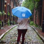 BBF umbrella on Acorn Street